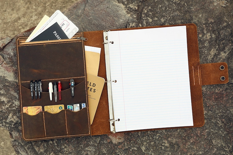 ce06fe4daa84 Personalized leather 3 ring binder portfolios with pockets and writing pad  / 8.5 x 11 letter size leather padfolio organizer NL05BC
