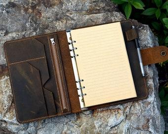 Vintage A5 Size Leather Organizer Agenda /  Refillable Genuine Leather binder Diary Travel journal for Men Women NBA505TB