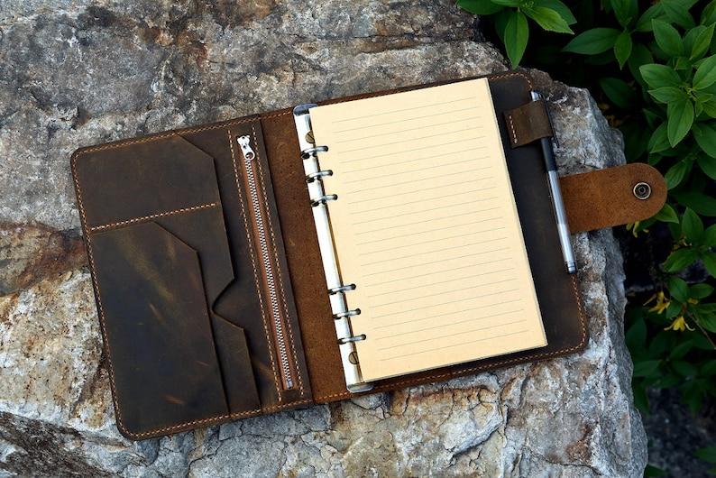 e8b6dddda50bb Vintage A5 Size Leather Organizer Agenda   Refillable Genuine