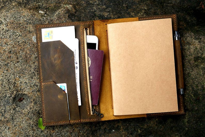 Personalized leather midori travel journal A5 refillable image 0