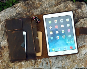 Vintage distressed leather iPad organizer leather iPad stand cover case for New iPad / iPad pro 9.7 10.5 / iPad Air with pencil holder IXPMC
