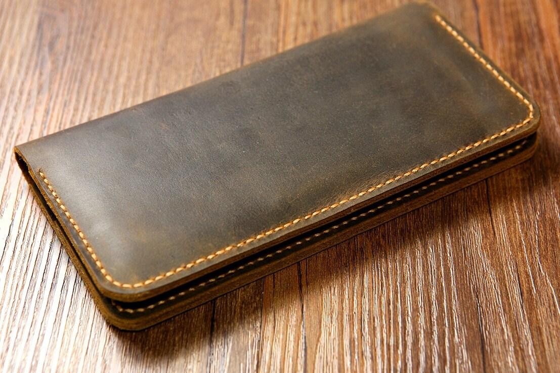 Männer Frauen Distressed Leder lange Brieftasche / slim