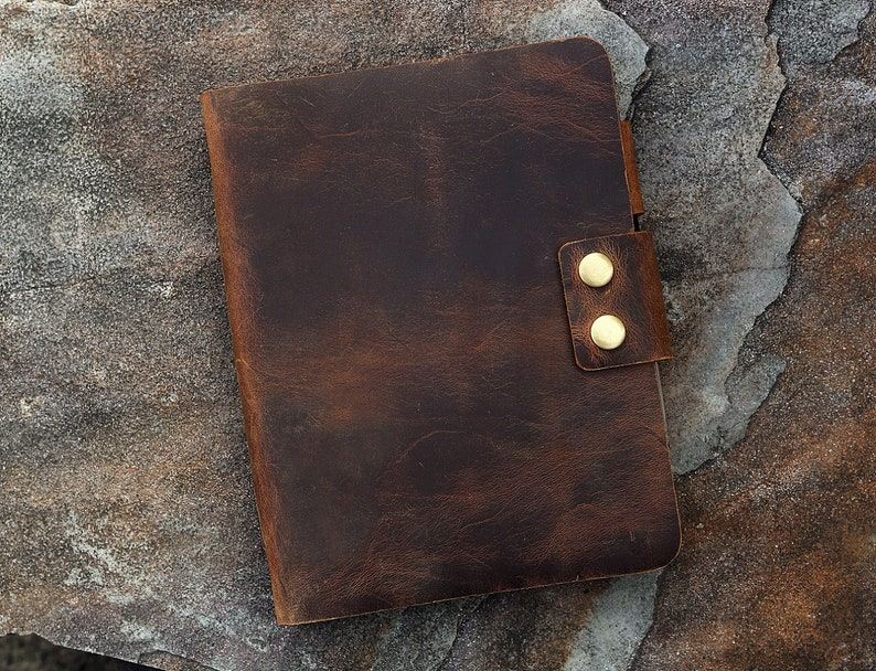 Vintage retro A5 leather ring binder notebook cover / image 0