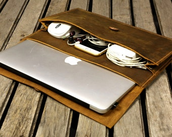 Handmade leather macbook sleeve case for new macbook 12 / macbook air 11 13 / macbook pro retina case / leather laptop case bag - MACX05S-B