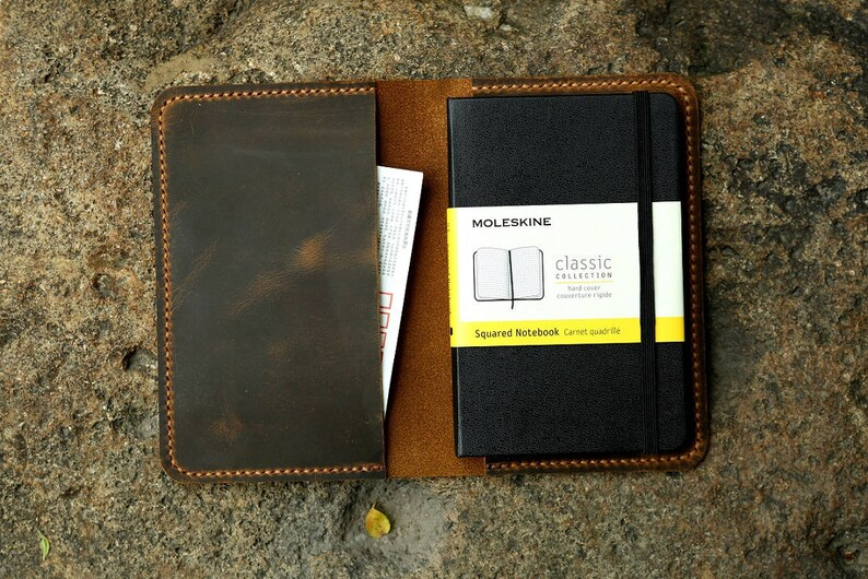 Leather notebook cover for moleskine classic notebook pocket image 0