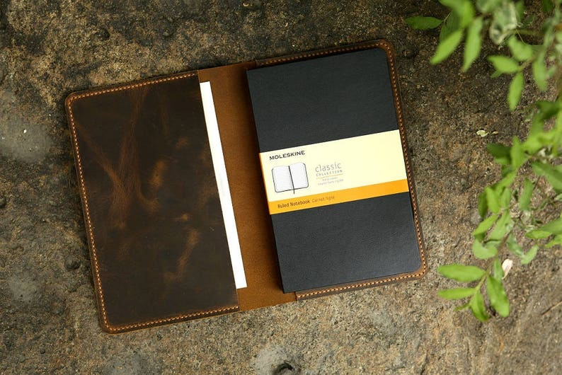 Leather notebook cover for moleskine classic notebook Large image 0