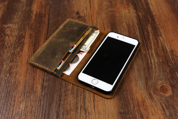 Used Look Vintage braun Leder IPhone 6 s Tasche Geldbörse iPhone 6 s + Book Case Galaxy Note 4 5 case Geldbörse braun Stich IP005W