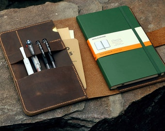 Personalized leather moleskine cover with pen holder custom leather cover for large moleskine volant cahier journal notebook MA505NC1