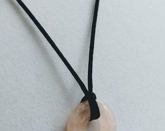 Rose Quartz Satin Cord Necklace