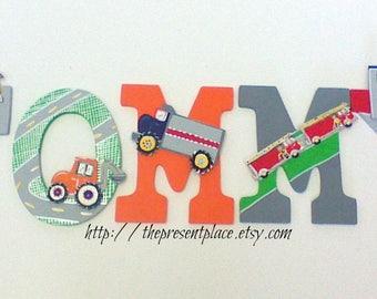 5 letters,transport theme, truck,fire truck,fire engine,cars,boys letters,boys wall art,personalized art,boys car letters,truck letters