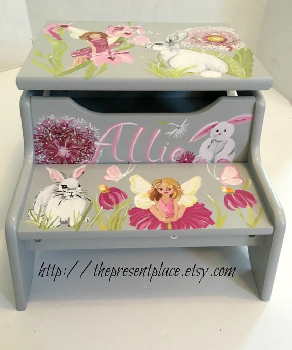 Wondrous Two Step Step Stool Grey Gray Fairies Flowers Butterflies Raspberry Step Stool With Storage Childrens Step Stool Kids Baby Girls Bench Beatyapartments Chair Design Images Beatyapartmentscom