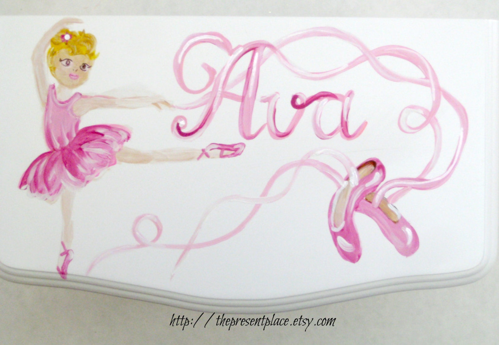 large white hanging jewelry box,four drawers,hand painted, ballerina,roses,ballet shoes,personalized jewelry box,girls jewelry b