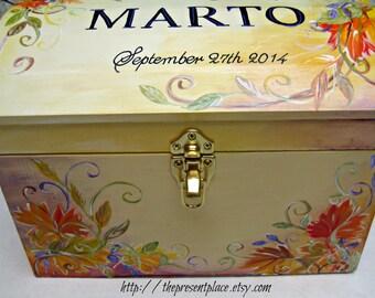 large trunk like wedding keepsake box,Autumn colors,Autumn wedding gift.personalized gift,bridal couple gift,wedding gift,wedding memory box