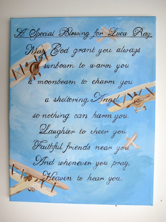 personalized Irish blessing,baby boy gift,new baby gift, blessing,Irish  blessing,baby blessing,airplanes,wall art,wall hanging,boys room