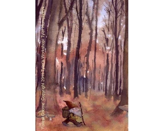 Gnome Art - Gnome Card - Gnome Elf Fairy Painting Print - Gnome Greeting Card -  Autumn Illustration Landscape 'Forest Gnome'