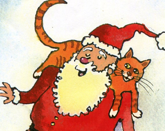 Cat Christmas Card, Funny Cat Christmas Greeting Card, Cat Card Santa and Cats Merry Christmas Greeting Card
