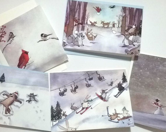 Winter Cards Set of 5, 20% Discount, Winter Animals Stationery Set Cards, Cards with Snowman, Woodland Animals Cards, Winter Birds Cards