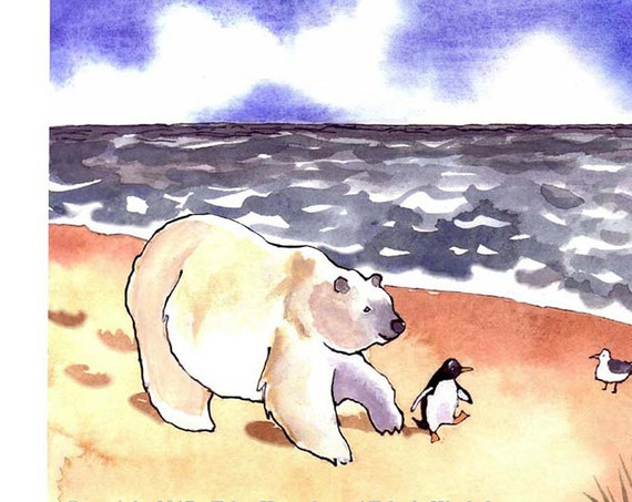 Funny Animal Card - Polar Bear & Penguin Card - Animal illustration Watercolor Painting Print 'Life's A Beach'
