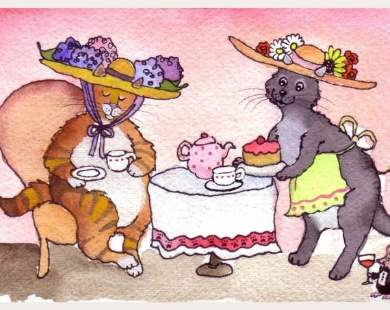 Funny Cat Greeting Card, Tabby Cat Watercolor Painting Print 'Purrrrfect Catnip Tea Party'