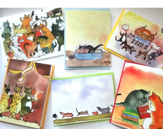 Cat Cards Set of 6 Discount Price Over 20%, Funny Blank Cat Cards, Cat Stationery, Set of 6 Funny Cat Greeting Cards, Cards With Cats