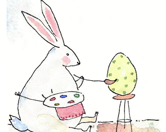 Easter Card, Funny Easter Bunny Easter Greeting Card, Handmade Easter Card, Watercolor Easter Card