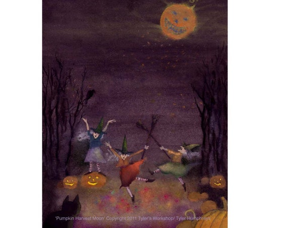 Halloween Card - Witch Halloween Greeting Card - Pumpkins Black Cat Full Moon - Illustration Halloween Witches - 'Pumpkin Harvest Moon'