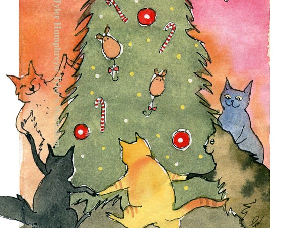 Cat Christmas Card, Funny Christmas cat Greeting Card, Cat Watercolor Card, Blank Cat Card, Cat Christmas Tree Card, Funny Cat Art