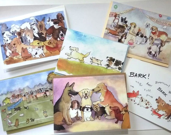 Dog Cards Set of 6 Discount Price Over 20% Off, Funny Blank Dog Cards, Dog Stationery, Set of 6 Funny Dog Greeting Cards, Cards With Dogs