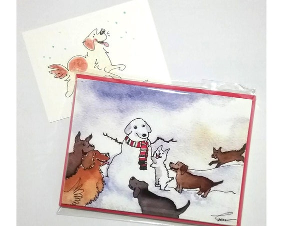 Funny Dog Christmas Cards Set of 10 Discount Price 20% Off, Free Shipping Blank Handmade Dog Christmas Cards, Humorous Dog Holiday Cards