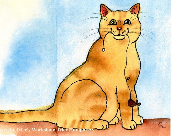 Funny Cat Card, Orange Tabby Cat Card, Red Tabby Cat Card, Watercolor Cat Greeting Card, Handmade Card Cat, Blank Cat Card, Cat Portrait