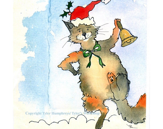 Cat Christmas Card, Funny Calico Cat Christmas Greeting Card, Santa Cat Card Merry Christmas Greeting Card