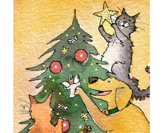 Funny Cat and Dog Christmas Card, Dog and Cats Christmas Greeting Cards, Christmas Card Pets, Handmade Christmas Card 'Hairy Christmas'