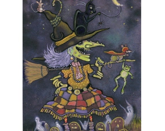 Halloween Card - Witch Halloween Greeting Card - Pumpkins Black Cat Full Moon - Illustration Halloween Witches - 'Esmeralda'