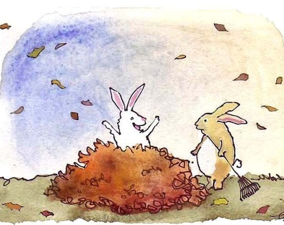 Rabbit/ Bunny Card - Thanksgiving Card - Bunny Rabbit Art - Funny Rabbit Greeting Card - Rabbit Watercolor Print 'Leaf Bunnies'
