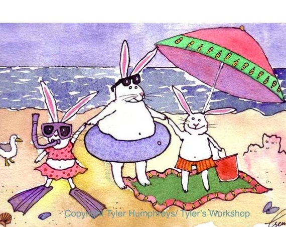 Funny Greeting Card - Handmade Greeting Card - Watercolor Bunny Card - Bunny Rabbit Card - Funny Rabbits Beach Watercolor 'Beach Bunnies'