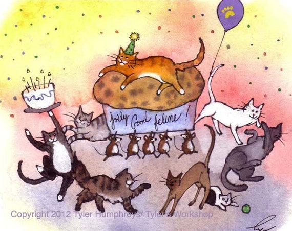 Cat Birthday Card, Funny Cat Greeting Card, Birthday Party Card, Cats Watercolor Painting Cartoon Illustration Print 'Purrrfect Party'