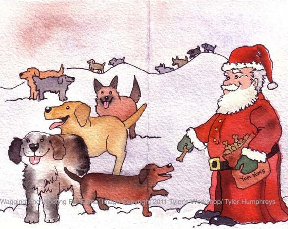 Dog Card, Dog Christmas Card, Dog Art, Dogs & Santa Illustration Watercolor Painting Print 'Wagging and Woofing For Santa'
