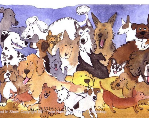 Dog Print - Funny Watercolor Dogs Print - Dog Illustration - Dog Art - Dog Breeds Watercolor Illustration Portrait 'Best In Show'