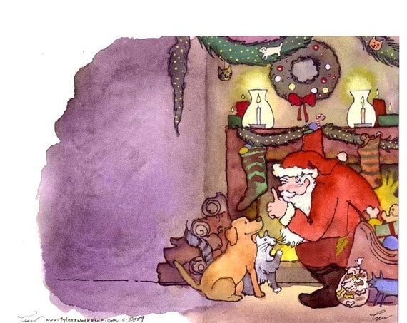 Dog and Cat Christmas Greeting Card- Pets Illustration Print 'Not A Creature Was Stirring'