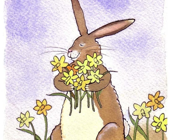 Daffodil Flowers & Funny Easter Card, Funny Bunny Rabbit Card, Spring Greeting Card, Rabbit Watercolor Print 'Stop And Smell The Daffodils'