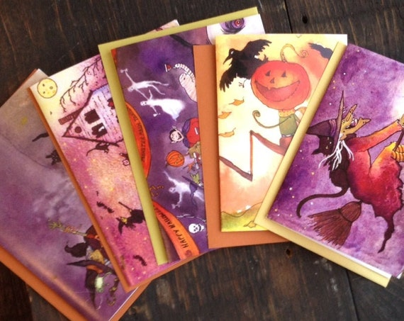 Halloween Cards Set of 5 Discount Price 10% Off, Handmade Halloween Greeting Cards, Halloween Witch Pumpkins Black Cat Cards