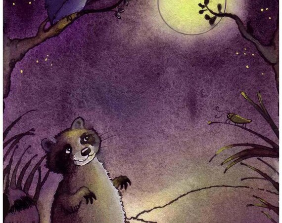 Night Animals Owl Cricket Raccon Blank Greeting Card, Full Moon and Stars Night Sky Watercolor Painting Print, Wall Art for Childrens Room