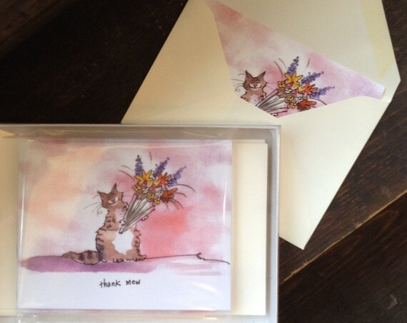 Cat Note Cards Set of 12 - OVER 30 % DISCOUNT! Cat Stationery - Funny Cats Greeting Cards - Watercolor Cat Greeting Cards  'Thank Mew'