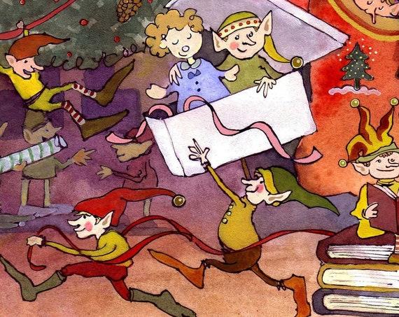 Santa's Workshop Christmas Card, Christmas Elves Greeting Card, Funny Christmas Card, Watercolor Christmas Card