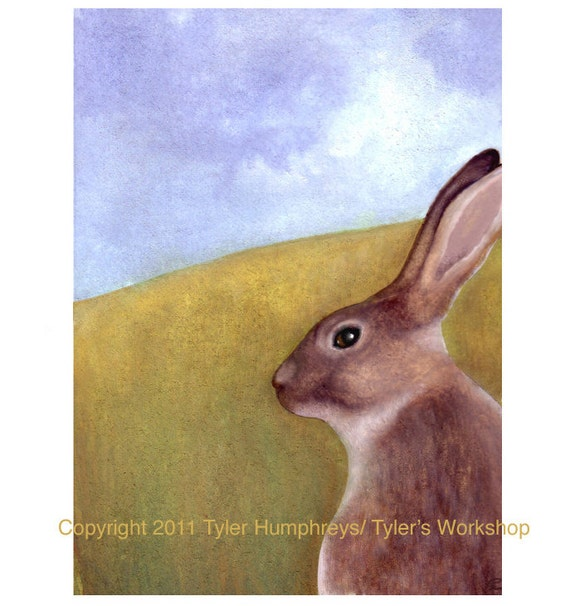Rabbit Greeting Card- Bunny/ Rabbit Watercolor Illustration Painting Print 'Wise Old Rabbit'