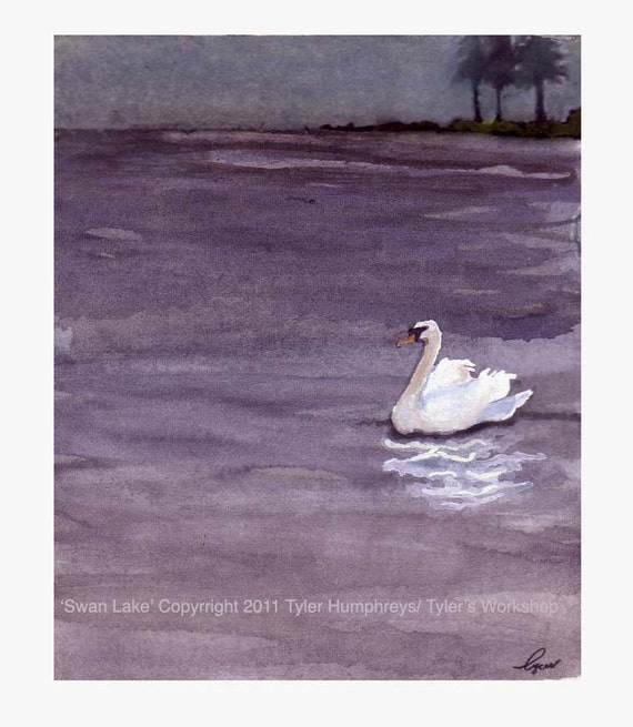 Swans - Swan Card - Swan Art - Birds Swan Swan Bird Watercolor Painting Illustration Greeting Card Print 'Swan Lake'