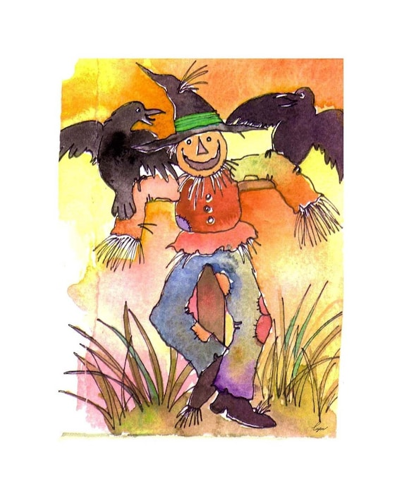 Card for Fall Autumn Halloween Card Scarecrow Card, Scarecrow Art, Scarecrow & Crows Watercolor Painting Illustration Greeting Card Print