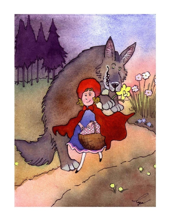Little Red Riding Hood Greeting Card - Art Card - Children's Book Illustration Fantasy Funny Fairy Tales Watercolor Painting Print