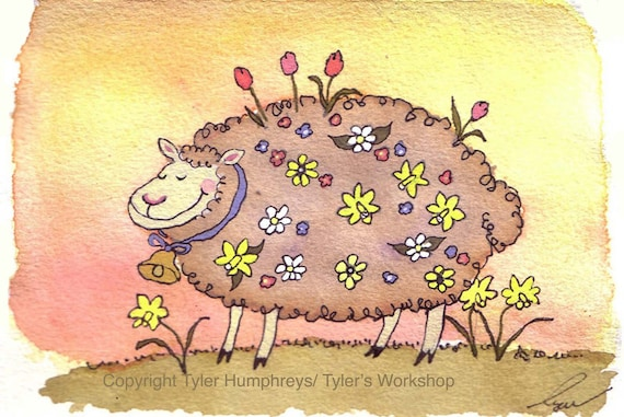 Funny Sheep Greeting Card - Easter Card - Funny Sheep & Flowers Watercolor Painting Illustration Print 4x6