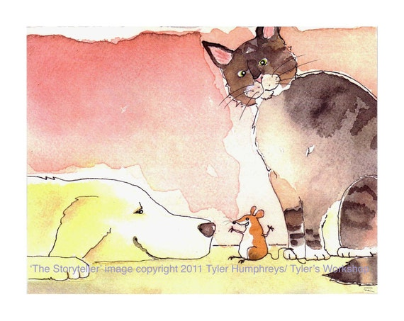 Funny Mouse Cat & Dog Greeting Card, Pets Watercolor Animals Painting illustration Cartoon, 'The Storyteller'